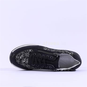 Remonte Laced Wedge Trainer Lagro - Black Floral