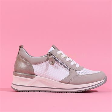 Remonte Laced Trainer With Side Zip - Grey Combi