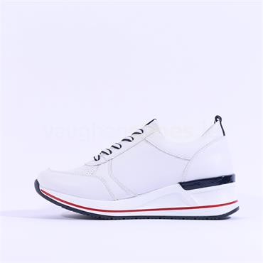 Remonte Laced Trainer With Side Zip - White Red Navy