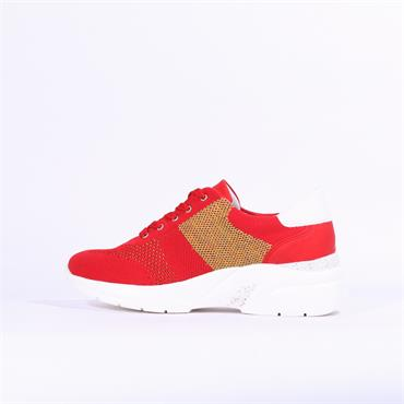 Remonte Knitted Wedge Trainer - Red Combi
