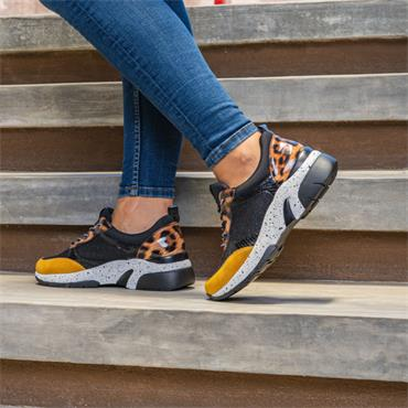 Remonte Laced Wedge Trainer Morelia - Yellow Leopard Combi