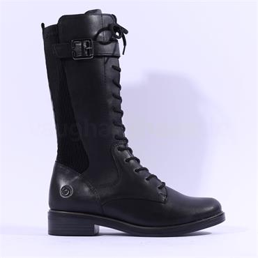 Remonte Laced Stretch Boot With Side Zip - Black Leather