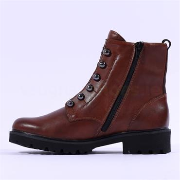 Remonte Cristallino Stud Front Side Zip - Chestnut Leather