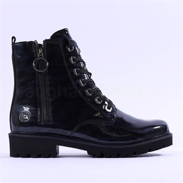 Remonte Marmor Laced Boot With Side Zip - Navy Patent