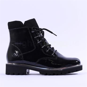 Remonte Lagro Laced Boot Side Zip - Black Patent
