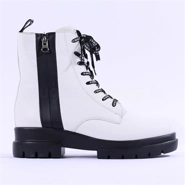 Remonte Castor Laced Boot With Side Zip - White Leather