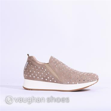 Marco Moreo Debbie Slip On Shoe Diamante - Taupe Suede