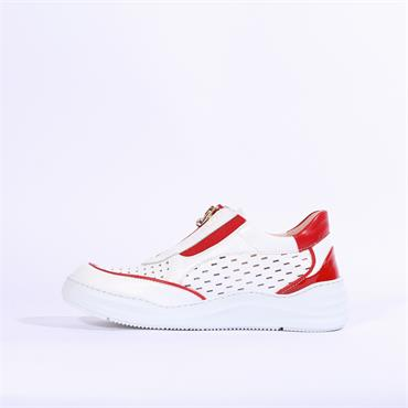 Marco Moreo Arena Front Zip Shoe - White/Red