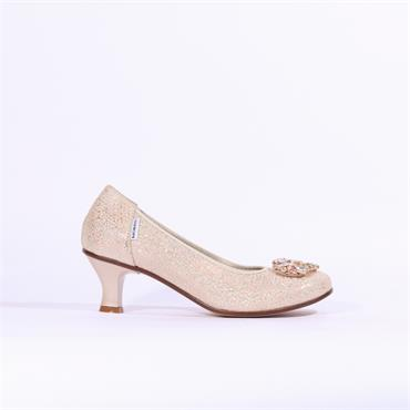 Marco Moreo Lucy Kitten Heel Shimmer - Nude Gold