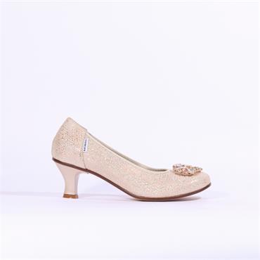 93ba2e30287c Marco Moreo Lucy Kitten Heel Shimmer - Nude Gold ...