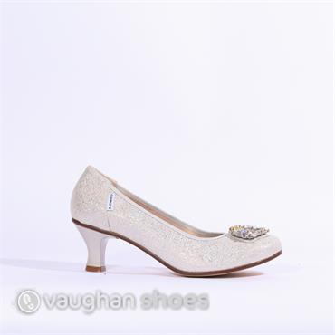 Marco Moreo Lucy Kitten Heel Shimmer - SILVER SPARKLE
