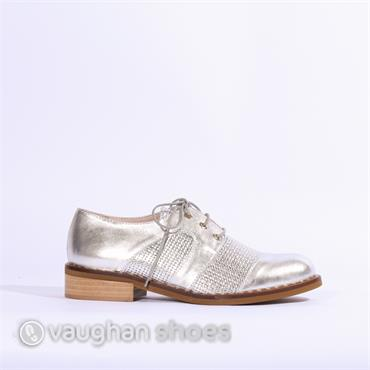 Marco Moreo Rebecca Woven Laced Brogue - Silver Metallic