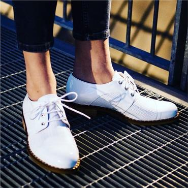 Marco Moreo Rebecca Woven Laced Brogue - White Patent