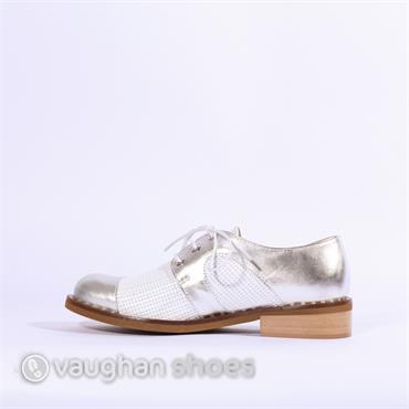 Marco Moreo Rebecca Woven Laced Brogue - White Silver