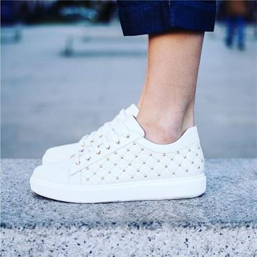 Marco Moreo Tania Quilted Trainer Studs - Cream