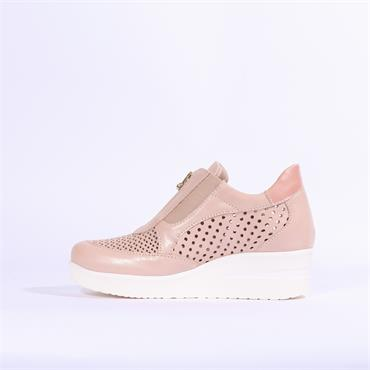 Marco Moreo Lola Perforated Wedge Zip - Nude