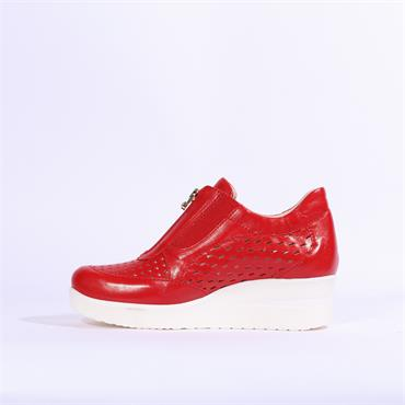 Marco Moreo Lola Perforated Wedge Zip - Red
