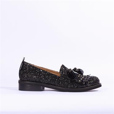 Marco Moreo Rebecca Loafer Tassel Detail - Black Glitter
