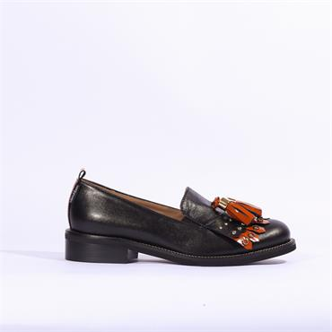 Marco Moreo Rebecca Loafer Tassel Detail - Black/Tan