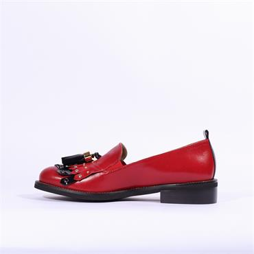 Marco Moreo Rebecca Loafer Tassel Detail - Red Black