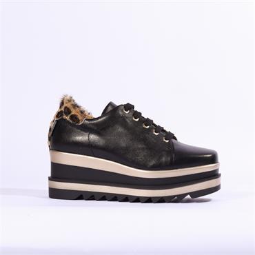 Marco Moreo Luna Laced Platform Shoe - Black Leopard