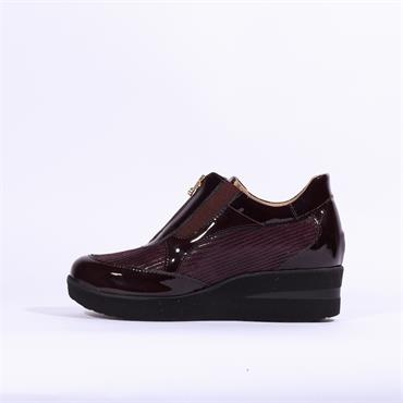 Marco Moreo Lola Wedge Front Zip - Wine