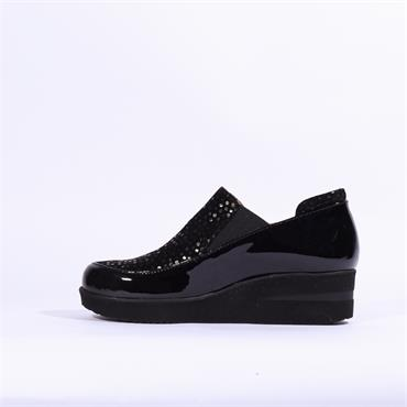 Marco Moreo Lola Slip On Gusset Wedge - Black Combi