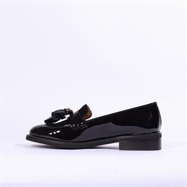 Marco Moreo Maura Slip On Loafer Tassel - Black Patent
