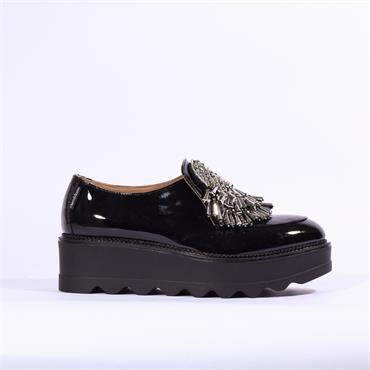 Marco Moreo Dee Jewel Bead Slip On Shoe - Black Patent