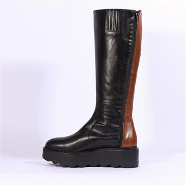 Marco Moreo Dee Knee High 2 Tone Boot - Black Combi