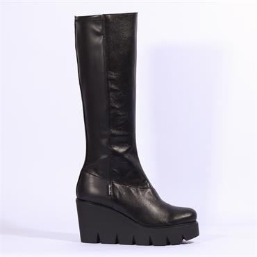 Marco Moreo Gilda Knee High Wedge Boot - Black