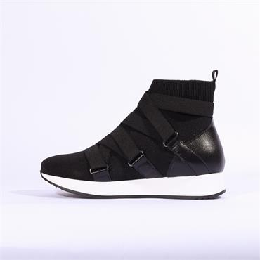 Marco Moreo Arena Strappy High Trainer - Black Fabric