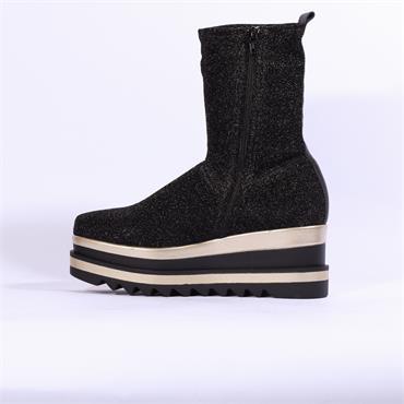 Marco Moreo Luna Platform Glitter Boot - Black Glitter