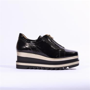 Marco Moreo Luna Zip Front Platform Shoe - Black