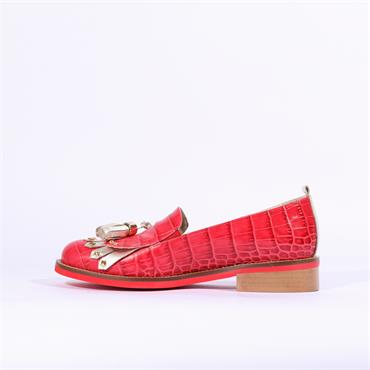 Marco Moreo Rebecca Loafer Tassel Detail - Red Snake