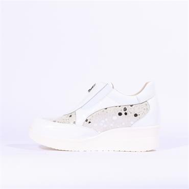 Marco Moreo Lola Wedge Front Zip - White Silver