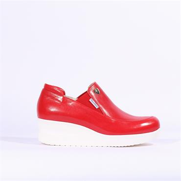 Marco Moreo Slip On Gusset Wedge Lola - Red Leather