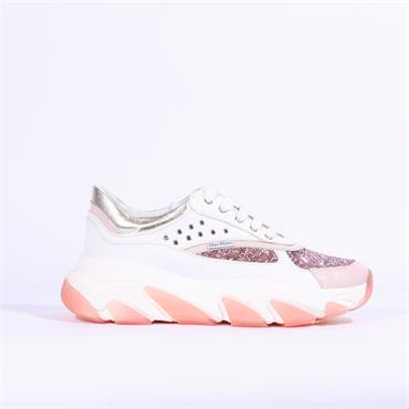 Marco Moreo Bonnie Chunky Sole Trainer - White Pink Glitter