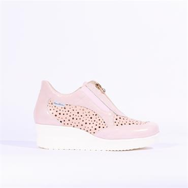 Marco Moreo Perforated Wedge Zip Lola - Pink Combi