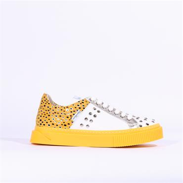 Marco Moreo Diana Stud Casual Trainer - Yellow Leopard Combi