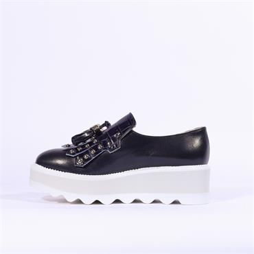 Marco Moreo Dee Wedge Tassle Shoe - Navy Leather