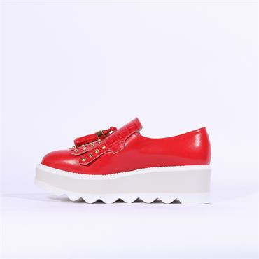 Marco Moreo Dee Wedge Tassle Shoe - Red Leather