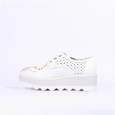 Marco Moreo Dee Stud Toe Lace Platform - White Leather