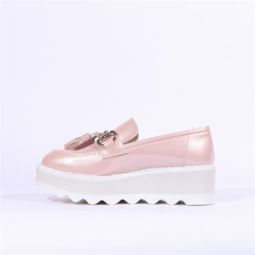 Marco Moreo Dee Wedge Buckle Tassle Shoe - Baby Pink Patent