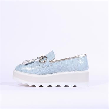 Marco Moreo Dee Wedge Buckle Tassle Shoe - Light Blue