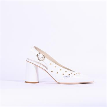Marco Moreo Marzia Slingback Stud Sandal - White Leather