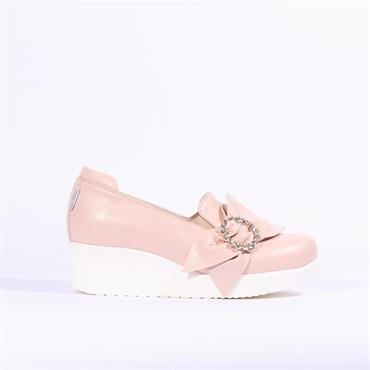 Marco Moreo Lola Wedge Jewel Bow - Nude
