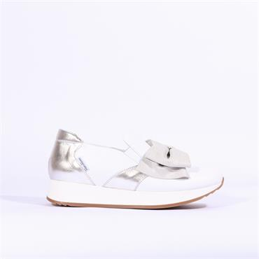Marco Moreo Enrica Bow Detail Trainer - White Silver