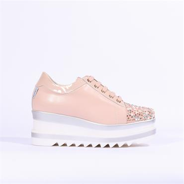 Marco Moreo Luna Stud Toe Platform Shoe - Pink Leather