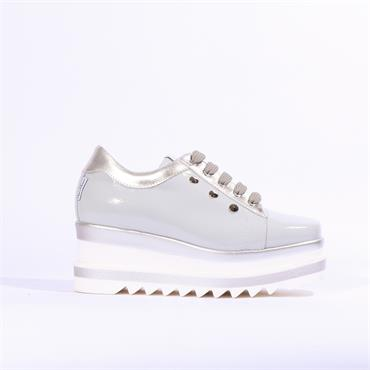 Marco Moreo Luna Laced Shoe Stud Detail - Grey Patent